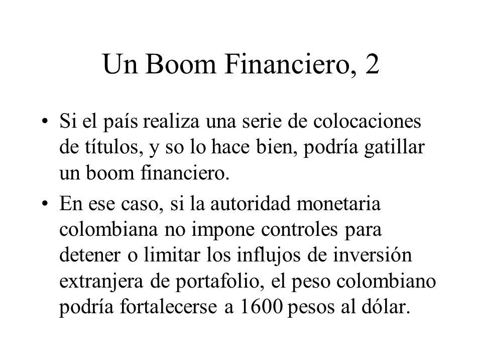 Un Boom Financiero, 2 Si el país realiza una serie de colocaciones de títulos, y so lo hace bien, podría gatillar un boom financiero.