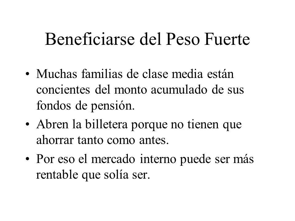 Beneficiarse del Peso Fuerte Muchas familias de clase media están concientes del monto acumulado de sus fondos de pensión.