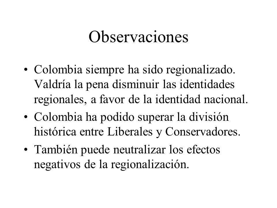 Observaciones Colombia siempre ha sido regionalizado.
