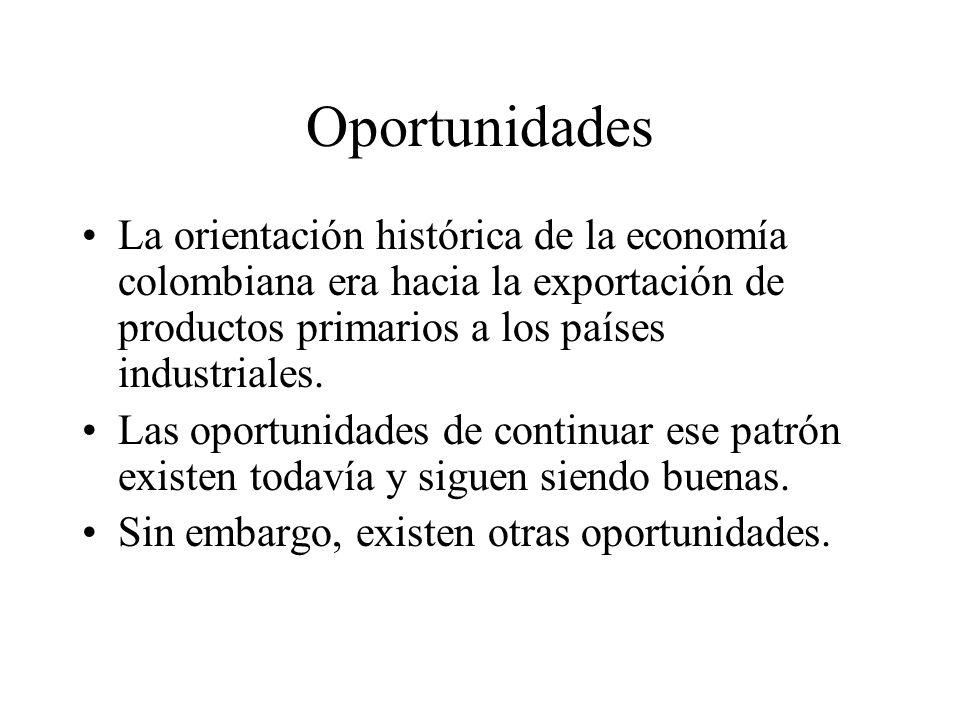 Oportunidades La orientación histórica de la economía colombiana era hacia la exportación de productos primarios a los países industriales.