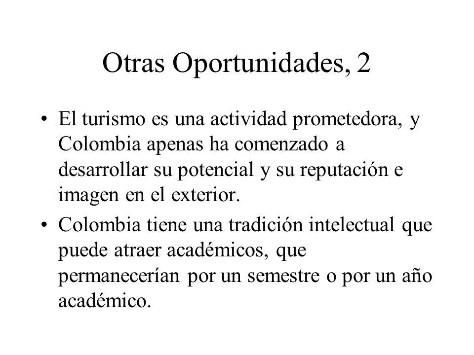 Otras Oportunidades, 2 El turismo es una actividad prometedora, y Colombia apenas ha comenzado a desarrollar su potencial y su reputación e imagen en el exterior.