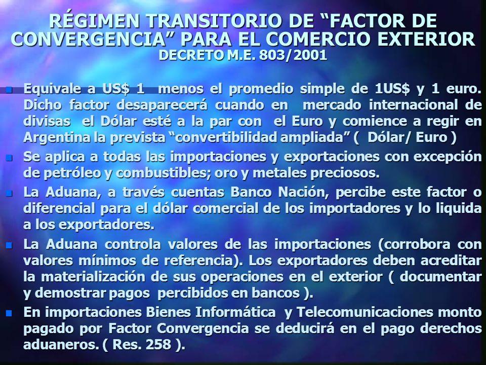 RÉGIMEN TRANSITORIO DE FACTOR DE CONVERGENCIA PARA EL COMERCIO EXTERIOR DECRETO M.E. 803/2001 n Equivale a US$ 1 menos el promedio simple de 1US$ y 1