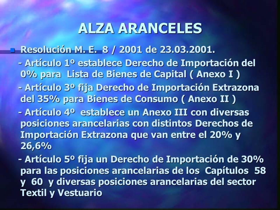 ALZA ARANCELES n Resolución M. E. 8 / 2001 de 23.03.2001. - Artículo 1º establece Derecho de Importación del 0% para Lista de Bienes de Capital ( Anex