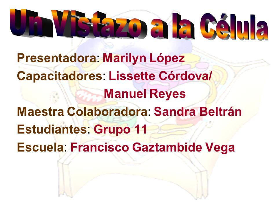 Presentadora: Marilyn López Capacitadores: Lissette Córdova/ Manuel Reyes Maestra Colaboradora: Sandra Beltrán Estudiantes: Grupo 11 Escuela: Francisc