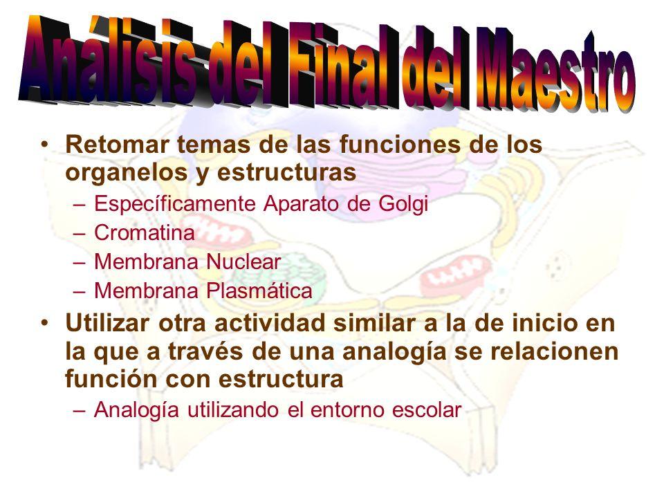 Retomar temas de las funciones de los organelos y estructuras –Específicamente Aparato de Golgi –Cromatina –Membrana Nuclear –Membrana Plasmática Util