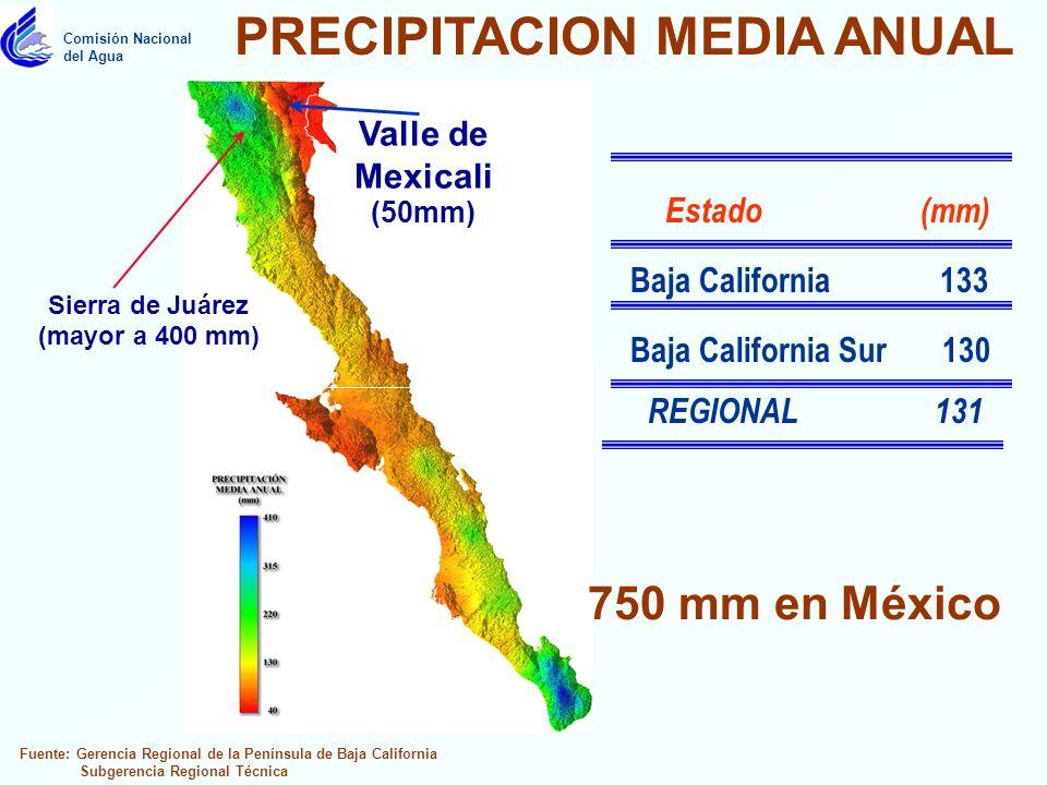 Estado (mm) Fuente: Gerencia Regional de la Península de Baja California Subgerencia Regional Técnica Comisión Nacional del Agua Sierra de Juárez (mayor a 400 mm) Sierra de Juárez (mayor a 400 mm) Valle de Mexicali (50mm) Valle de Mexicali (50mm) PRECIPITACION MEDIA ANUAL Baja California 133 Baja California Sur 130 REGIONAL 131 750 mm en México