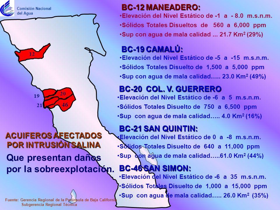 BC-19 CAMALÚ: Fuente: Gerencia Regional de la Península de Baja California Subgerencia Regional Técnica Comisión Nacional del Agua Elevación del Nivel Estático de -5 a -15 m.s.n.m.