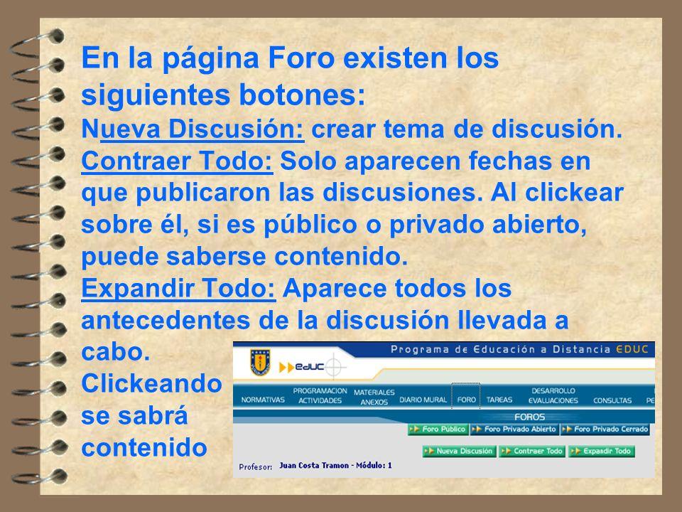 En la página Foro existen los siguientes botones: Nueva Discusión: crear tema de discusión.