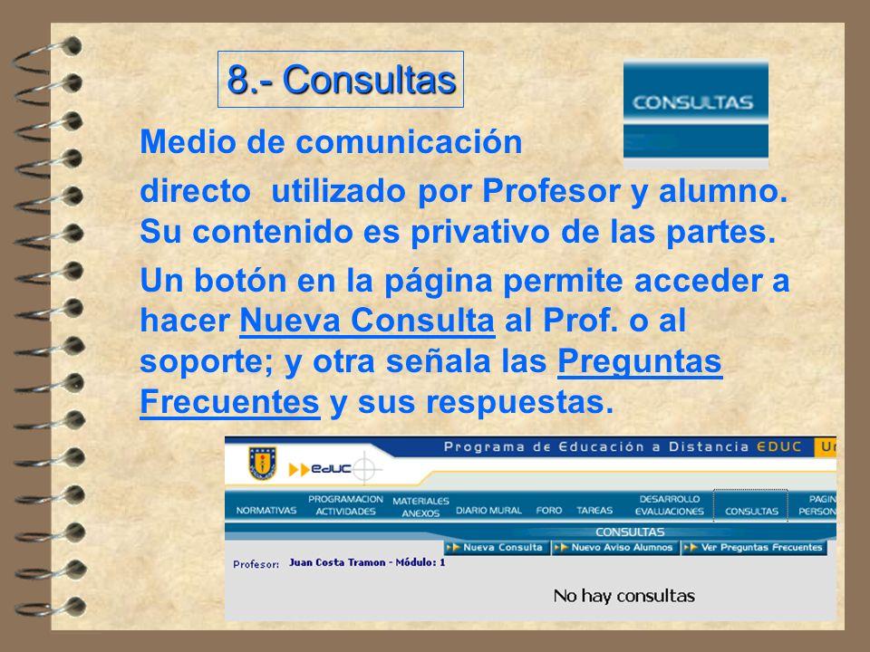 Medio de comunicación directo utilizado por Profesor y alumno.