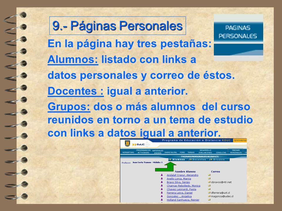 En la página hay tres pestañas: Alumnos: listado con links a datos personales y correo de éstos.
