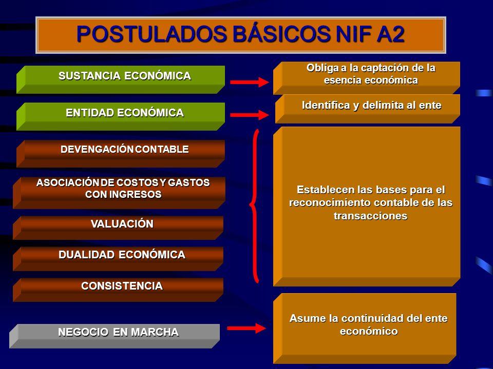 A continuación, se presenta un esquema con los Postulados Básicos de las Normas de Información Financiera (NIF A2)