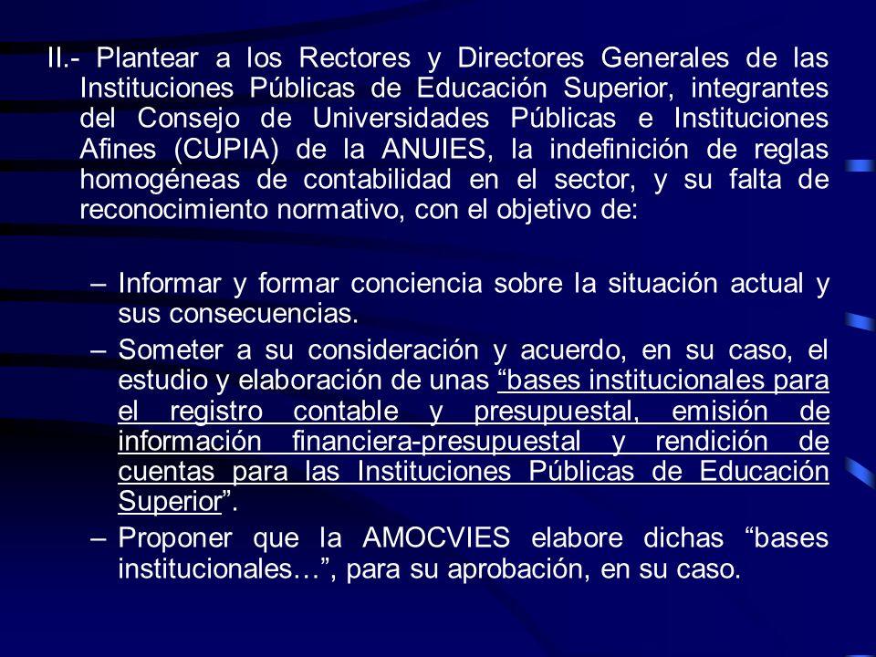 Para atender esta problemática, la AMOCVIES presenta las siguientes Propuestas : I.Comunicar al Consejo Mexicano para la Investigación y Desarrollo de