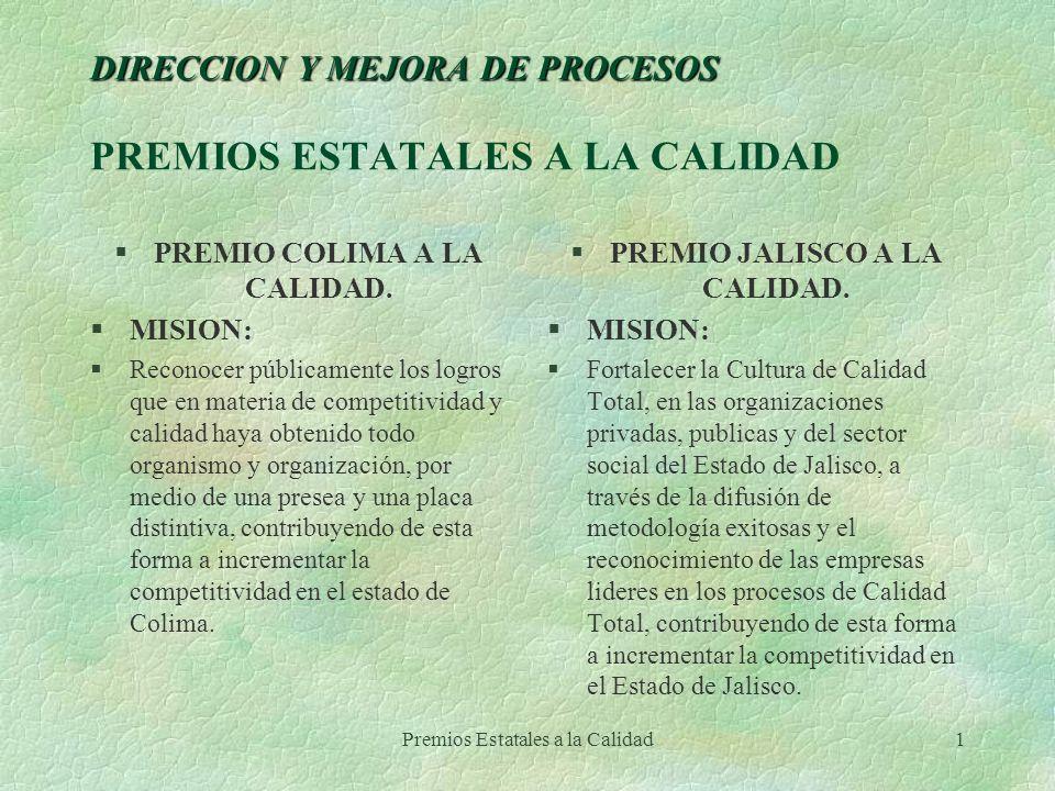 Premios Estatales a la Calidad1 DIRECCION Y MEJORA DE PROCESOS DIRECCION Y MEJORA DE PROCESOS PREMIOS ESTATALES A LA CALIDAD §PREMIO COLIMA A LA CALID