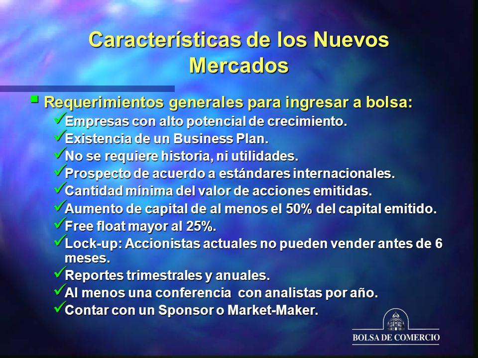 Características de los Nuevos Mercados Requerimientos generales para ingresar a bolsa: Requerimientos generales para ingresar a bolsa: Empresas con alto potencial de crecimiento.