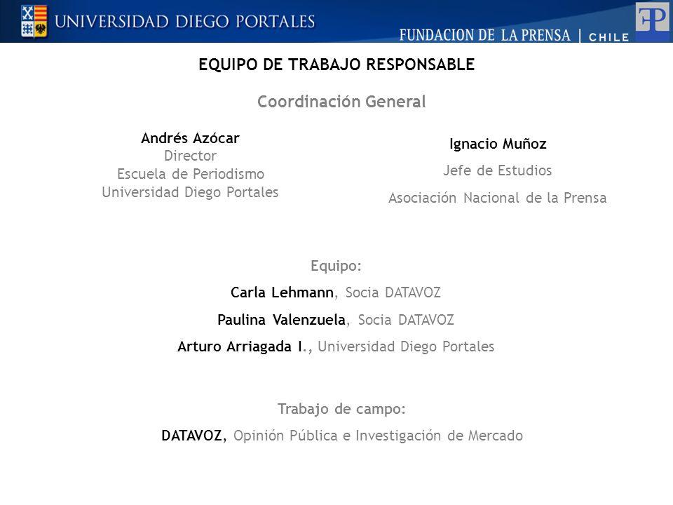 Coordinación General Andrés Azócar Director Escuela de Periodismo Universidad Diego Portales Ignacio Muñoz Jefe de Estudios Asociación Nacional de la