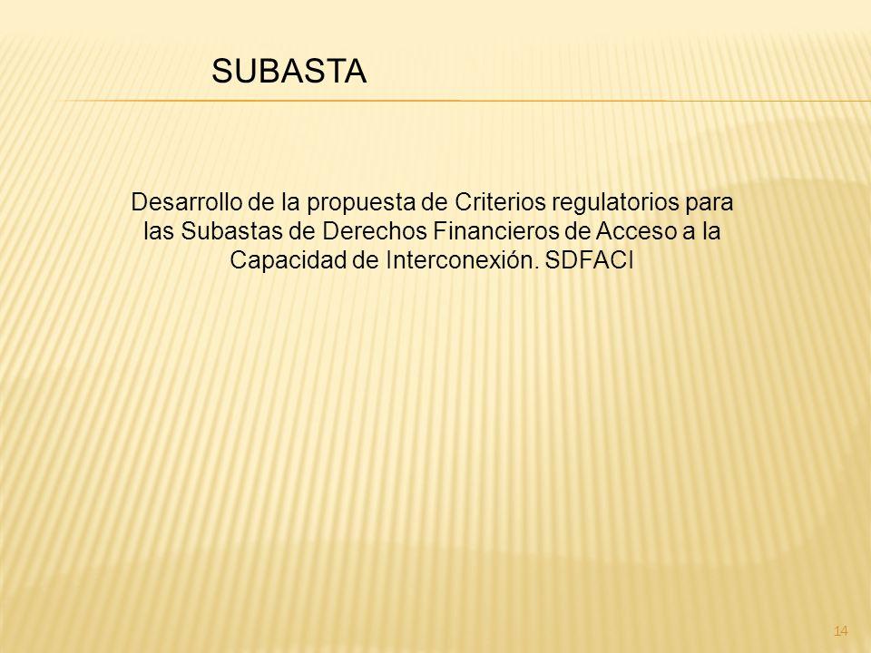 14 SUBASTA Desarrollo de la propuesta de Criterios regulatorios para las Subastas de Derechos Financieros de Acceso a la Capacidad de Interconexión.