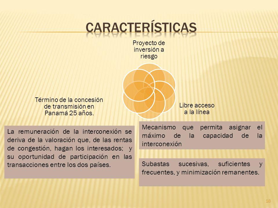 Proyecto de inversión a riesgo Libre acceso a la línea Término de la concesión de transmisión en Panamá 25 años.