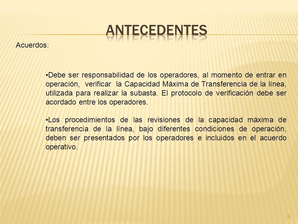 9 Acuerdos: Debe ser responsabilidad de los operadores, al momento de entrar en operación, verificar la Capacidad Máxima de Transferencia de la línea, utilizada para realizar la subasta.