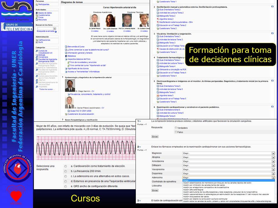 Facultad de Ingeniería - UNER Federación Argentina de Cardiología Seminario de Biotelemetría Cursos Formación para toma de decisiones clínicas