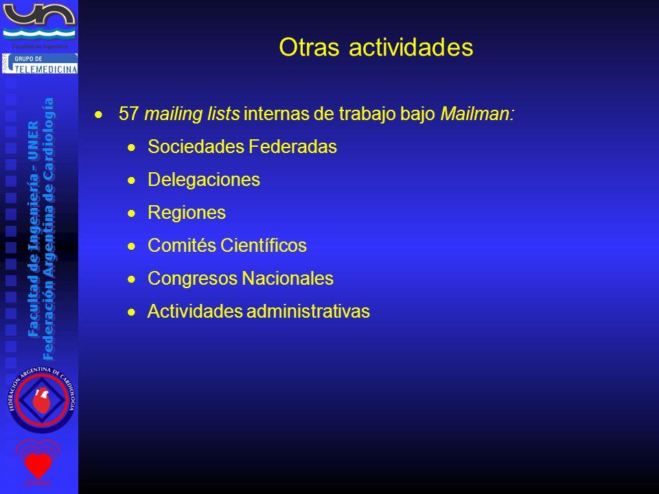 Facultad de Ingeniería - UNER Federación Argentina de Cardiología Otras actividades 57 mailing lists internas de trabajo bajo Mailman: Sociedades Fede