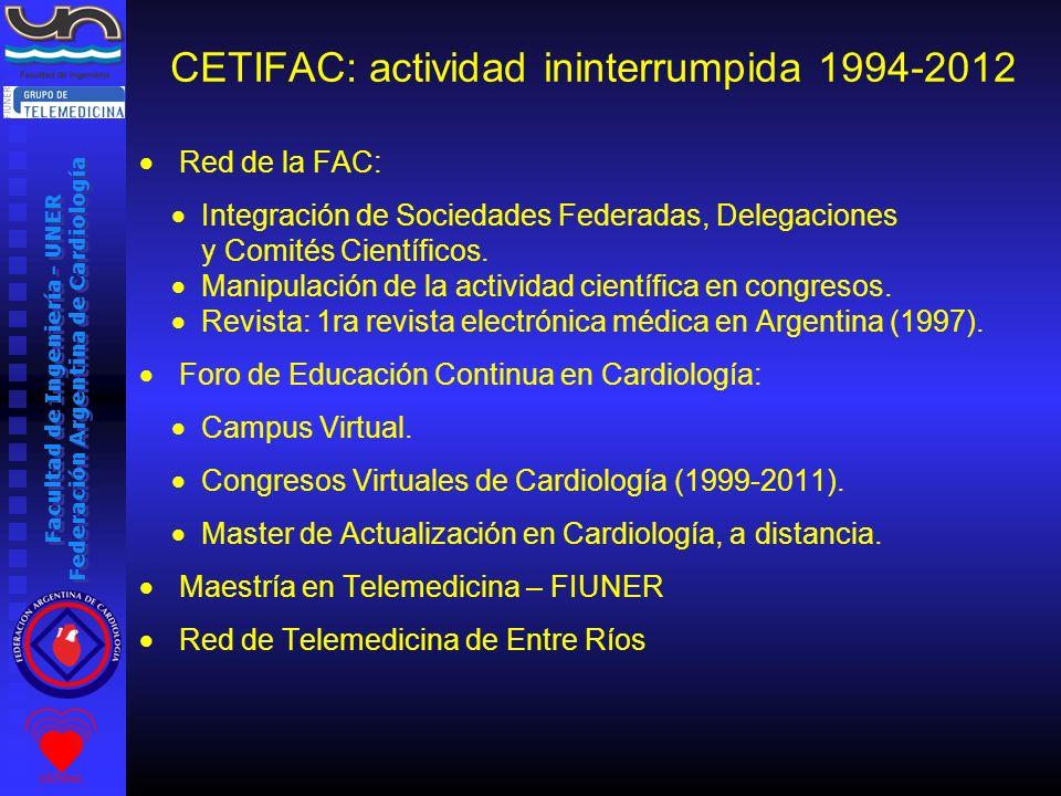 Facultad de Ingeniería - UNER Federación Argentina de Cardiología CETIFAC: actividad ininterrumpida 1994-2012 Red de la FAC: Integración de Sociedades