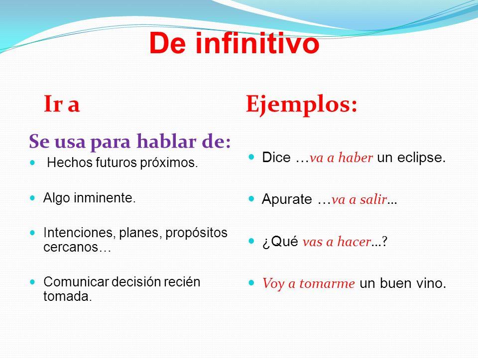 De infinitivo Ir aEjemplos: Se usa para hablar de: Hechos futuros próximos. Algo inminente. Intenciones, planes, propósitos cercanos… Comunicar decisi