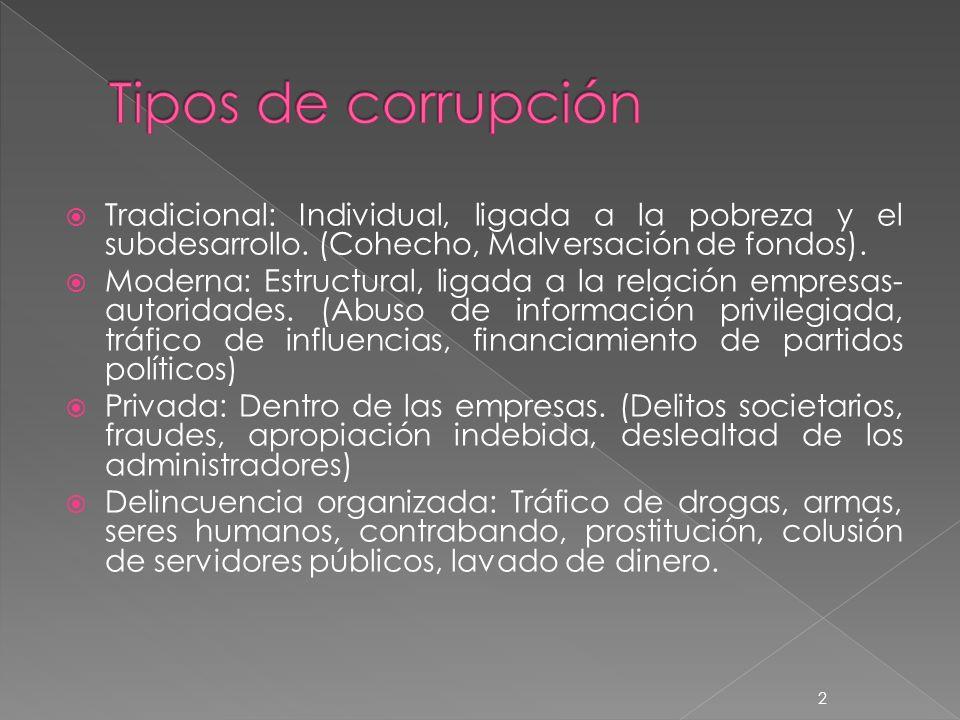 Los altos niveles de corrupción pública y privada, nacen de la omisión y/o acción de un poder político que se ejerce de forma discrecional con deficientes pesos y contrapesos institucionales aplicados al control de la decisión política.