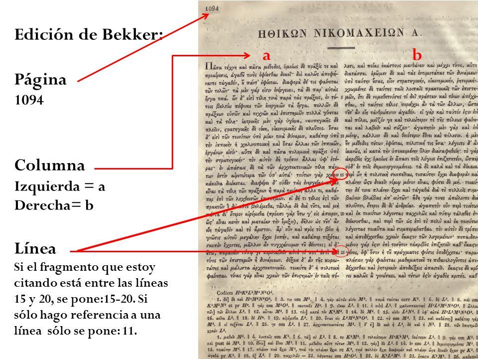 Edición de Bekker: Página 1094 Columna Izquierda = a Derecha= b Línea Si el fragmento que estoy citando está entre las líneas 15 y 20, se pone:15-20.