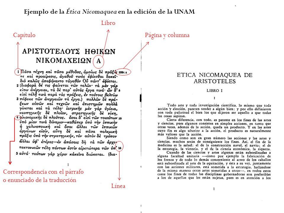 Ejemplo de la Ética Nicomaquea en la edición de la UNAM Correspondencia con el párrafo o enunciado de la traducción Página y columna Línea Capítulo Libro