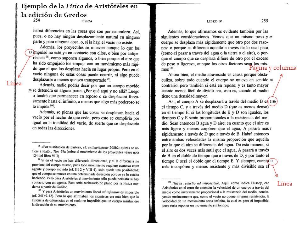 Línea Página y columna Ejemplo de la Física de Aristóteles en la edición de Gredos