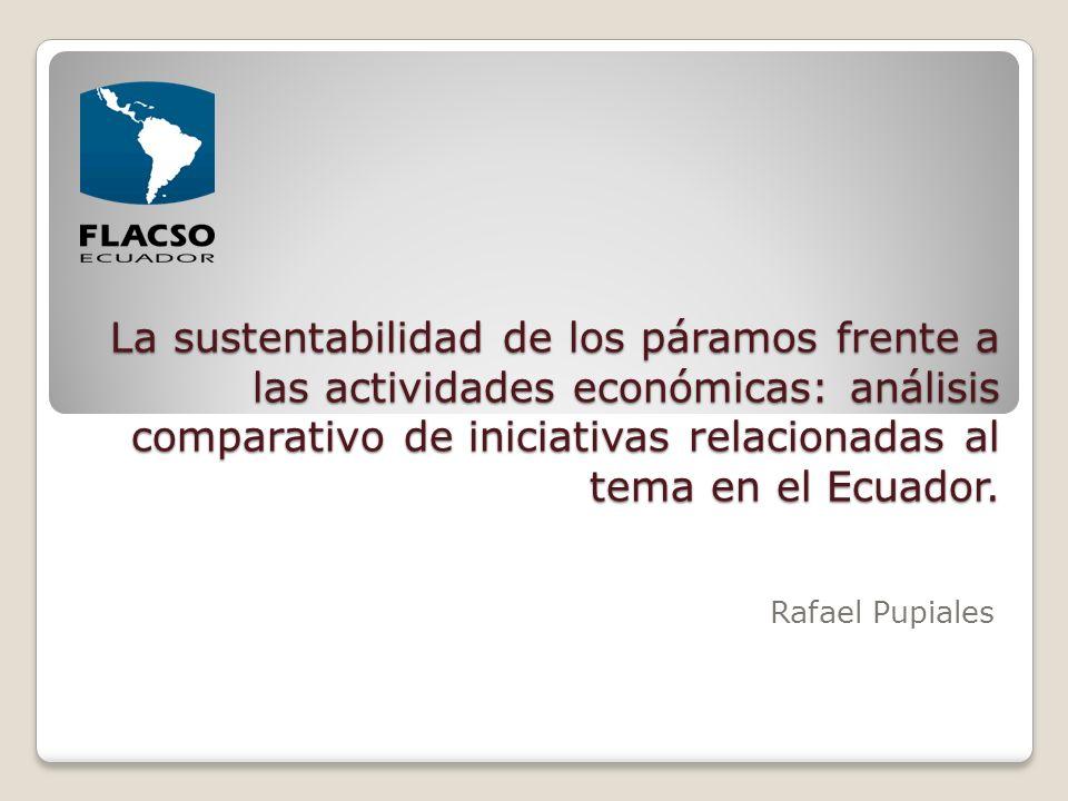 La sustentabilidad de los páramos frente a las actividades económicas: análisis comparativo de iniciativas relacionadas al tema en el Ecuador.