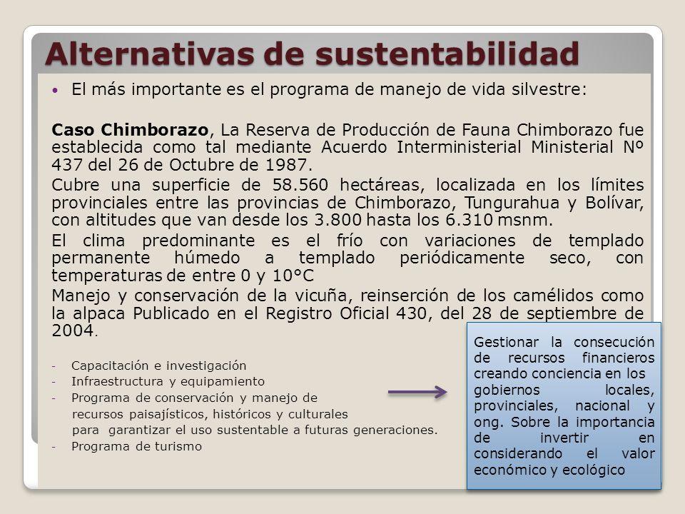 Alternativas de sustentabilidad El más importante es el programa de manejo de vida silvestre: Caso Chimborazo, La Reserva de Producción de Fauna Chimborazo fue establecida como tal mediante Acuerdo Interministerial Ministerial Nº 437 del 26 de Octubre de 1987.