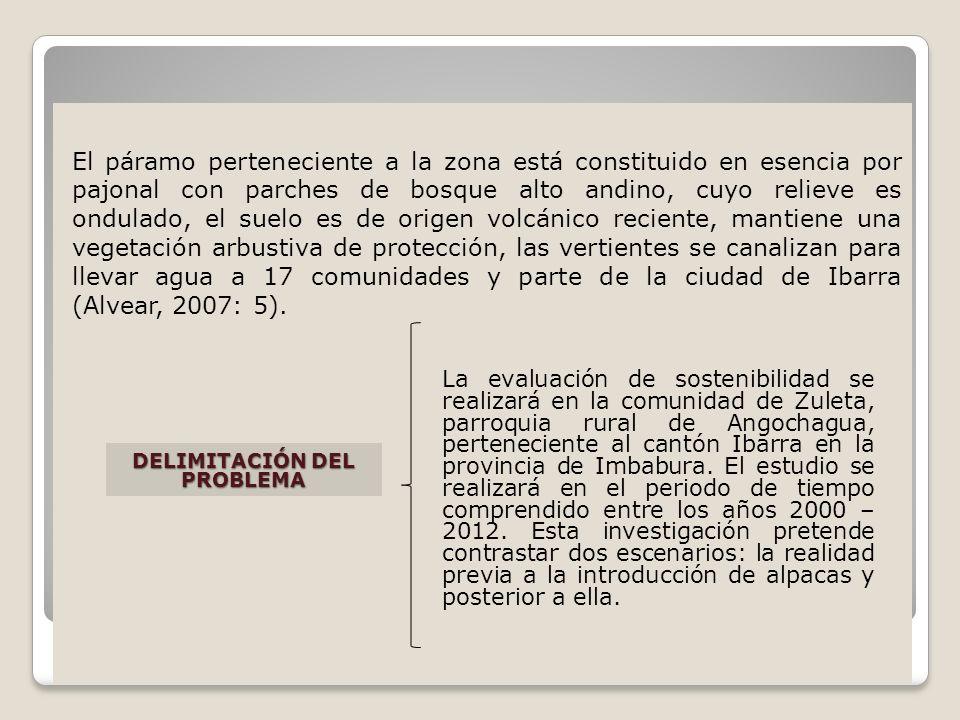 El páramo perteneciente a la zona está constituido en esencia por pajonal con parches de bosque alto andino, cuyo relieve es ondulado, el suelo es de origen volcánico reciente, mantiene una vegetación arbustiva de protección, las vertientes se canalizan para llevar agua a 17 comunidades y parte de la ciudad de Ibarra (Alvear, 2007: 5).