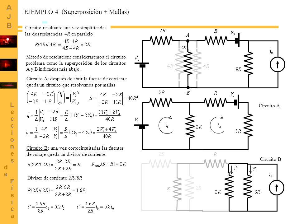 10 Circuito resultante una vez simplificadas las dos resistencias 4R en paralelo Circuito A Circuito B Método de resolución: consideraremos el circuit