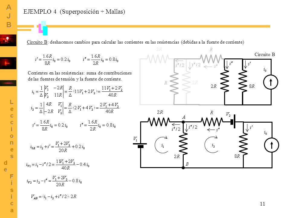 11 Circuito B: deshacemos cambios para calcular las corrientes en las resistencias (debidas a la fuente de corriente) Circuito B Corrientes en las res