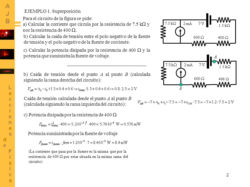 2 EJEMPLO 1. Superposición Para el circuito de la figura se pide: a) Calcular la corriente que circula por la resistencia de 7.5 k y por la resistenci