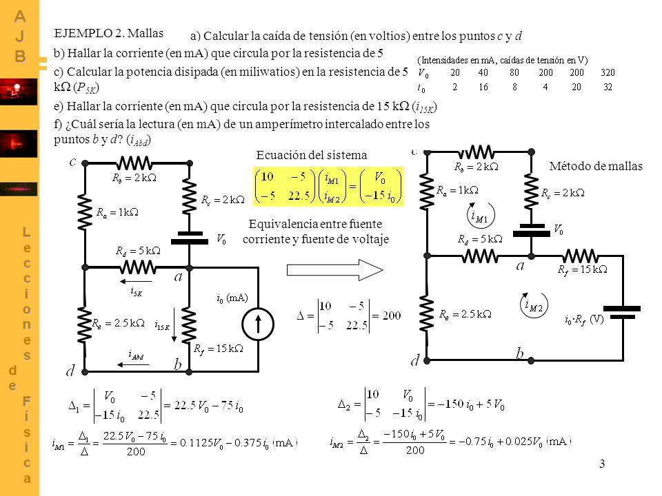 3 Equivalencia entre fuente corriente y fuente de voltaje EJEMPLO 2. Mallas a) Calcular la caída de tensión (en voltios) entre los puntos c y d (V cd