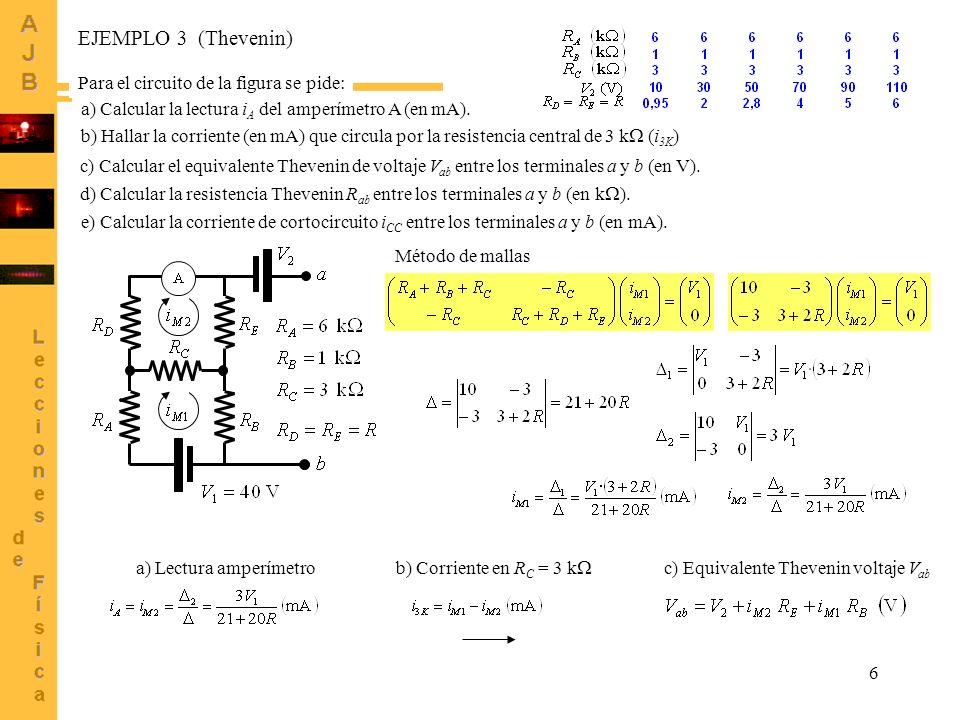 6 e) Calcular la corriente de cortocircuito i CC entre los terminales a y b (en mA). EJEMPLO 3 (Thevenin) Para el circuito de la figura se pide: a) Ca