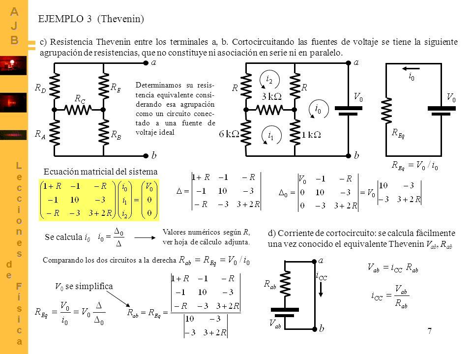 7 c) Resistencia Thevenin entre los terminales a, b. Cortocircuitando las fuentes de voltaje se tiene la siguiente agrupación de resistencias, que no