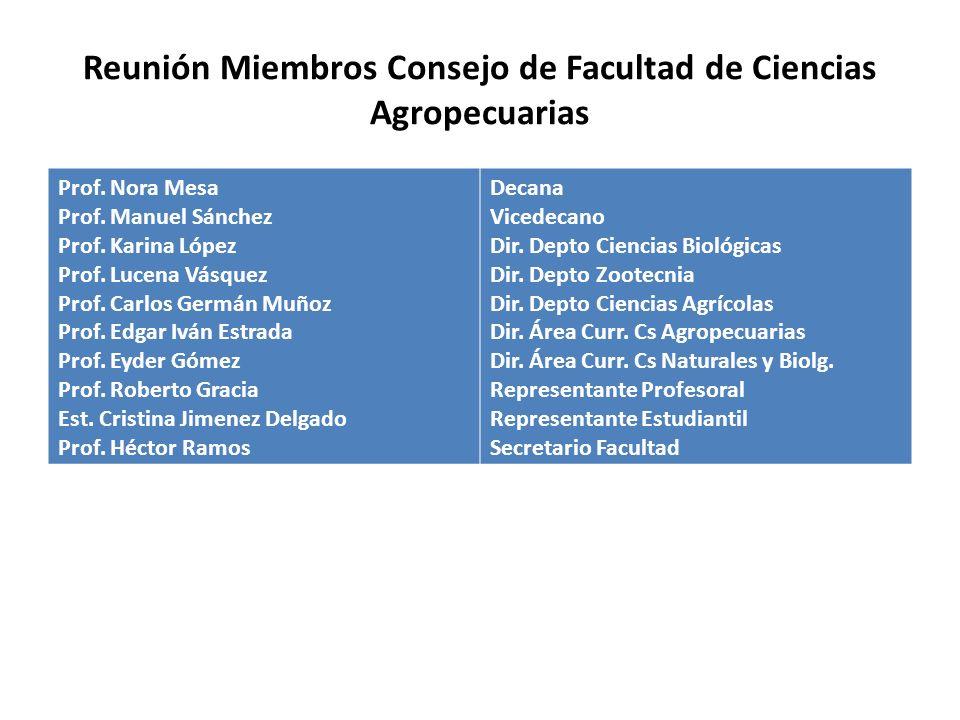 Reunión Miembros Consejo de Facultad de Ciencias Agropecuarias Prof.