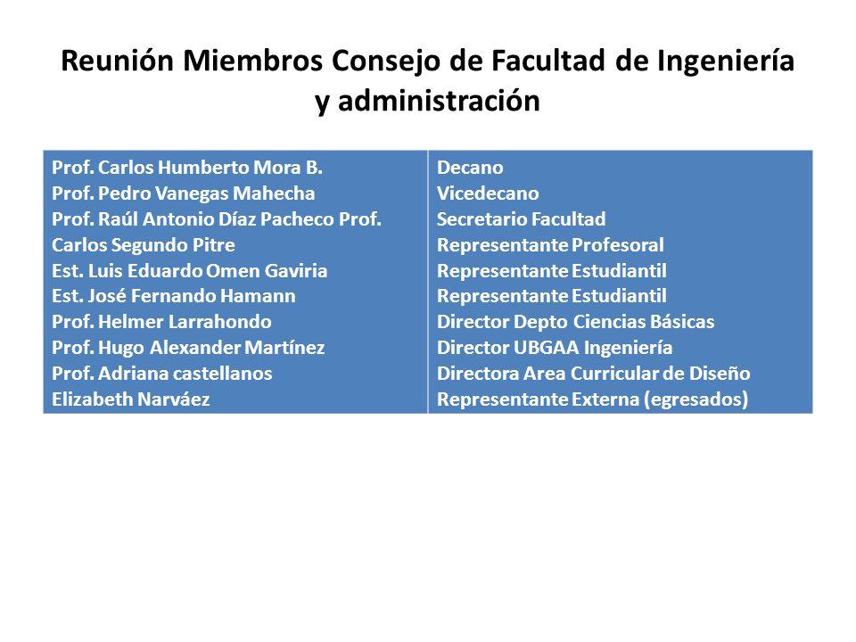 Reunión Miembros Consejo de Facultad de Ingeniería y administración Prof.
