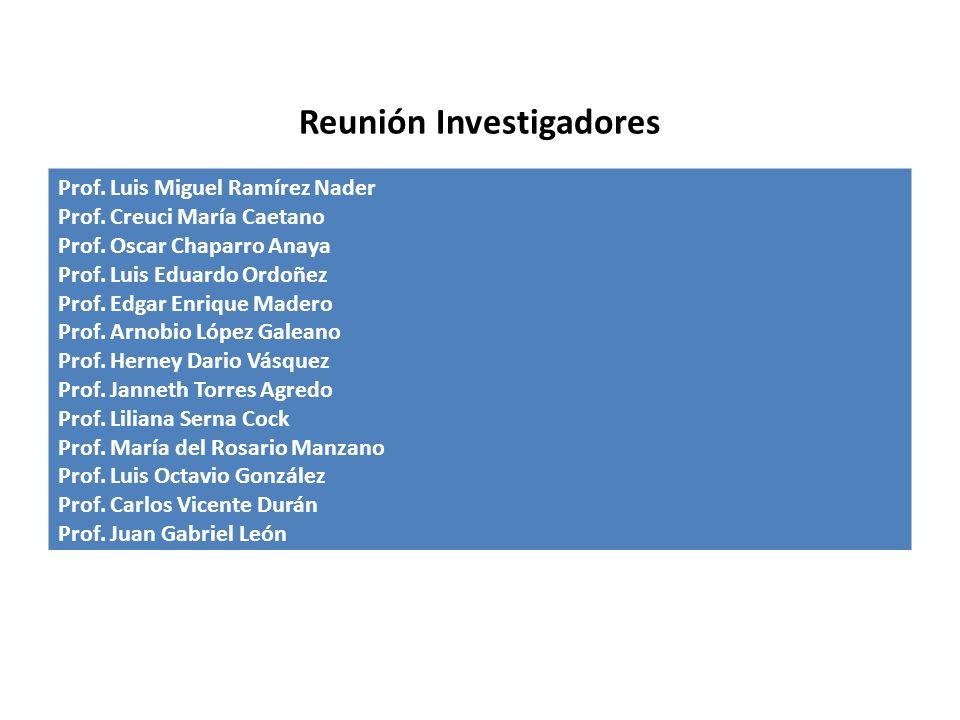 Reunión Investigadores Prof.Luis Miguel Ramírez Nader Prof.