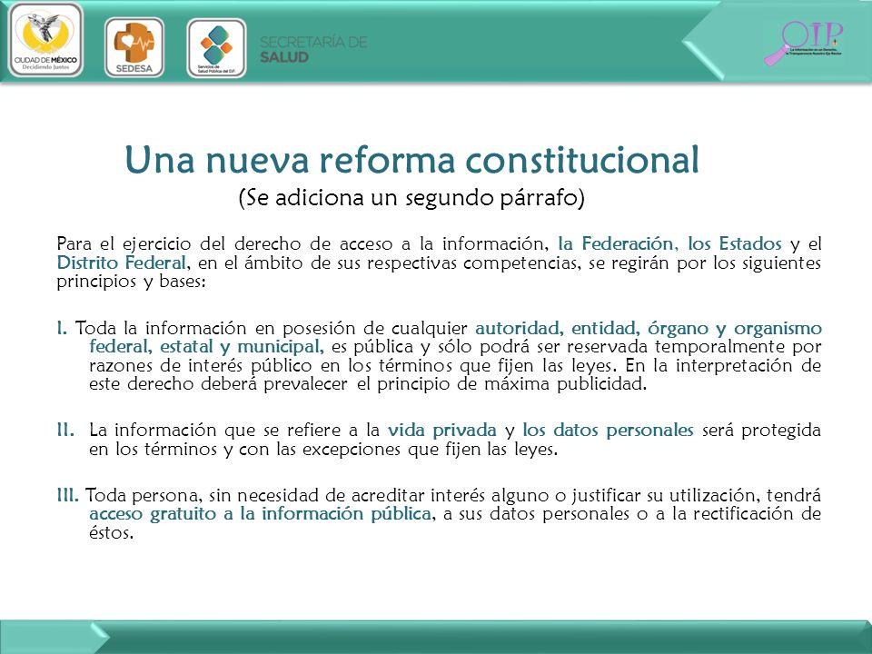 Para el ejercicio del derecho de acceso a la información, la Federación, los Estados y el Distrito Federal, en el ámbito de sus respectivas competenci