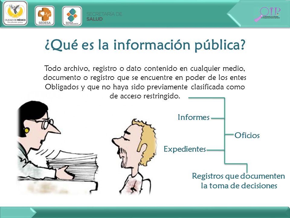 Todo archivo, registro o dato contenido en cualquier medio, documento o registro que se encuentre en poder de los entes Obligados y que no haya sido p