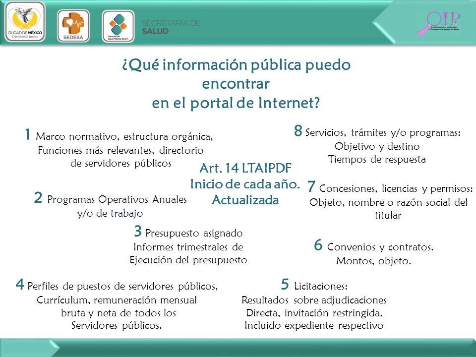 ¿Qué información pública puedo encontrar en el portal de Internet? Art. 14 LTAIPDF Inicio de cada año. Actualizada 6 Convenios y contratos. Montos, ob