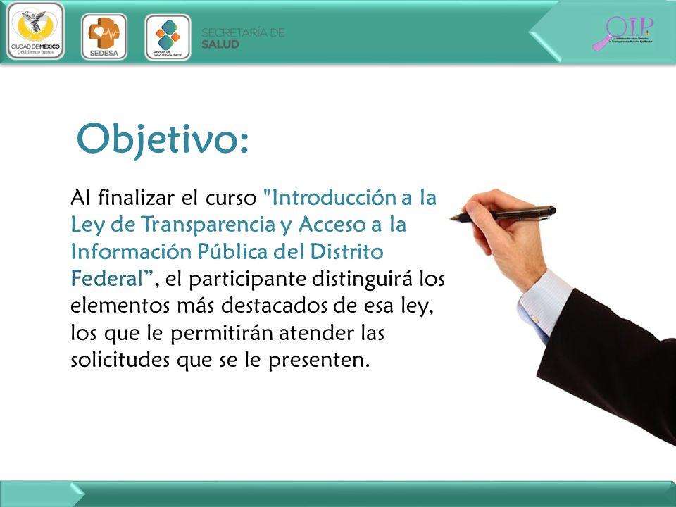 Objetivo: Al finalizar el curso