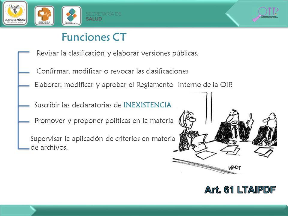 Funciones CT Revisar la clasificación y elaborar versiones públicas. Confirmar, modificar o revocar las clasificaciones Elaborar, modificar y aprobar