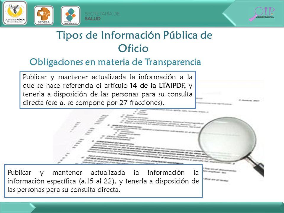 Tipos de Información Pública de Oficio Publicar y mantener actualizada la información a la que se hace referencia el artículo 14 de la LTAIPDF, y tene