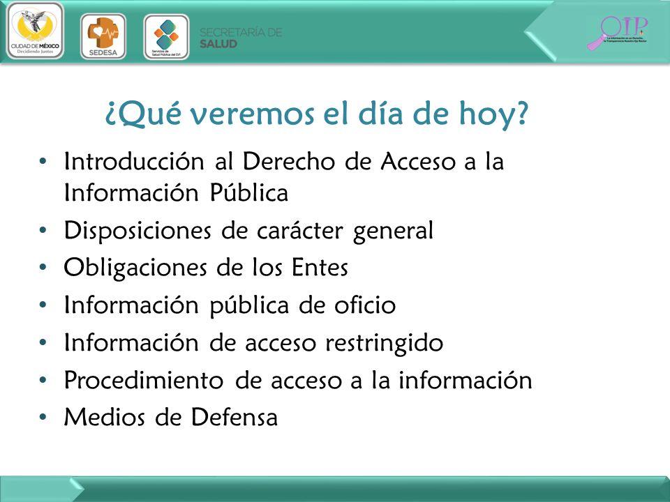 ¿Qué veremos el día de hoy? Introducción al Derecho de Acceso a la Información Pública Disposiciones de carácter general Obligaciones de los Entes Inf