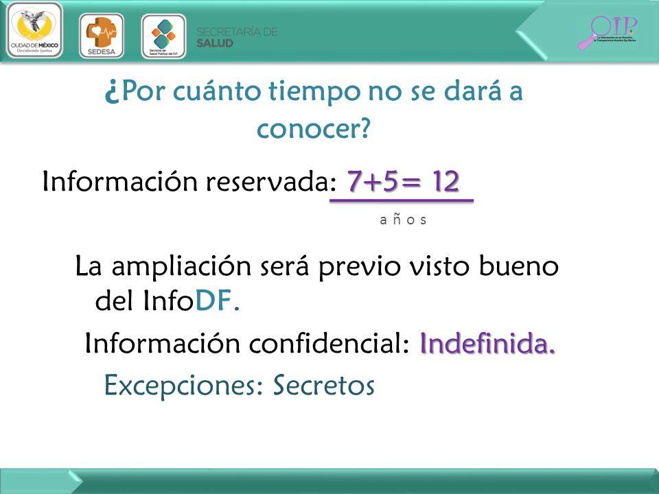 7+5= 12 Información reservada: 7+5= 12 La ampliación será previo visto bueno del InfoDF. Indefinida. Información confidencial: Indefinida. Excepciones